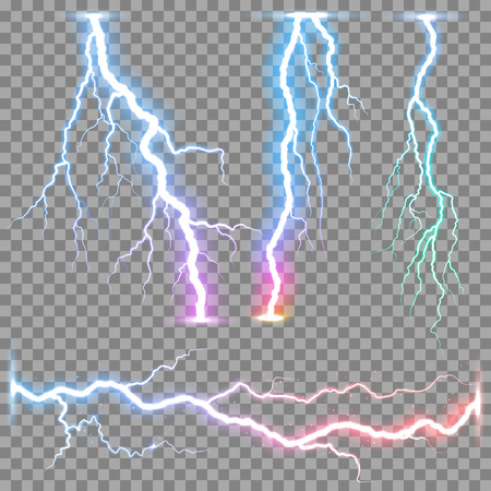 Vector realistic lightnings thunderbolt on transparent background. Stock Illustratie