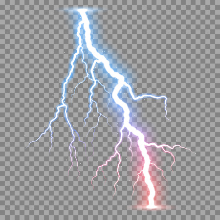 Vector realistic lightnings thunderbolt on transparent background. Иллюстрация