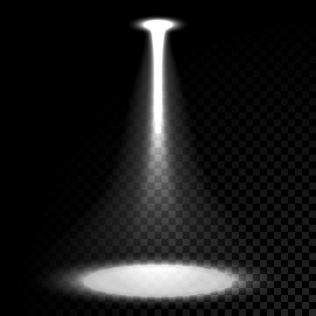 Vector stage spotlight beam on transparent background
