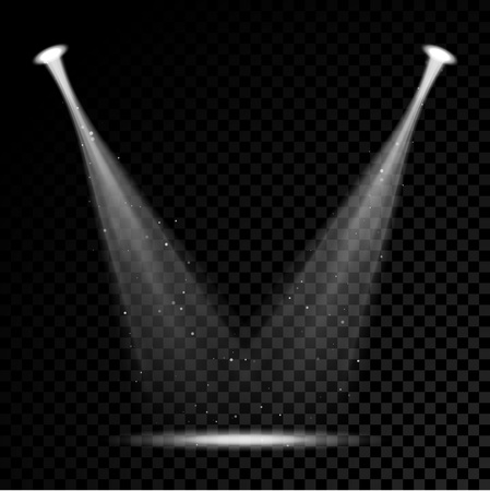 flare: Vector stage spotlight beams with sparkles on transparent background