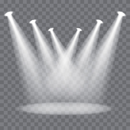 bright light: Vector stage spotlight beams on transparent background