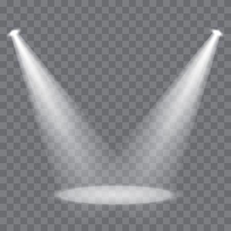 Vector stage spotlight beams on transparent background