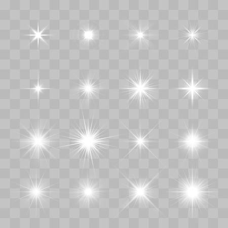 Set of Vector glowing light effect stars bursts with sparkles on transparent background. Transparent stars. 일러스트