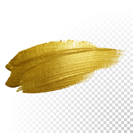 stroke: Vector gold paint brush stroke. Abstract gold glittering textured art illustration.