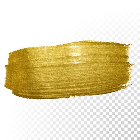 stroke: Vector gold paint brush stroke. Abstract gold glittering textured art illustration.
