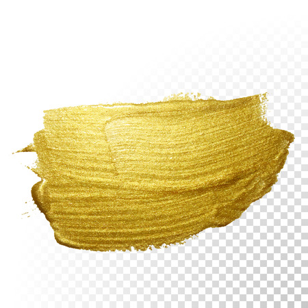 gold background: Vector gold paint brush stroke. Abstract gold glittering textured art illustration.