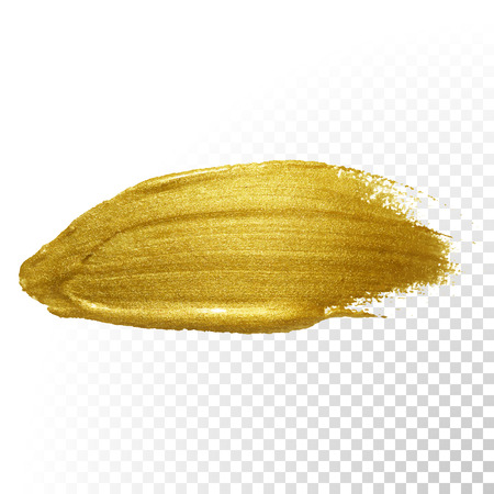 paint: Vector gold paint brush stroke. Abstract gold glittering textured art illustration.
