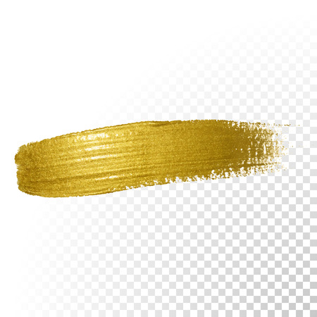ink stain: Vector gold paint brush stroke. Abstract gold glittering textured art illustration.