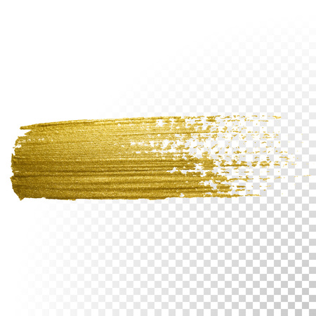 brush stroke: Vector gold paint brush stroke. Abstract gold glittering textured art illustration.