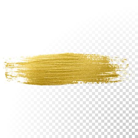벡터 골드 페인트 브러쉬 선입니다. 질감 예술 그림 빛나는 추상 골드.