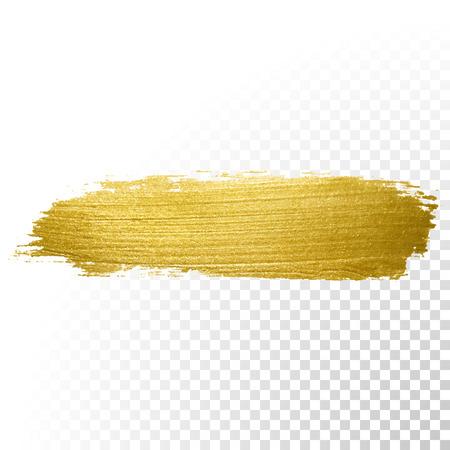 Vector gold paint brush stroke. Abstract gold glittering textured art illustration.