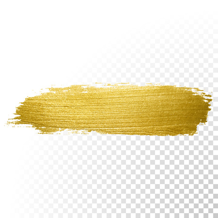 Vector gold paint brush stroke. Abstract gold glittering textured art illustration.