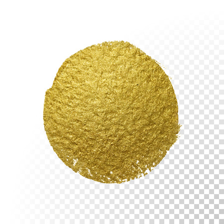 Vector gold paint brush circle stain. Abstract gold glittering textured art illustration.
