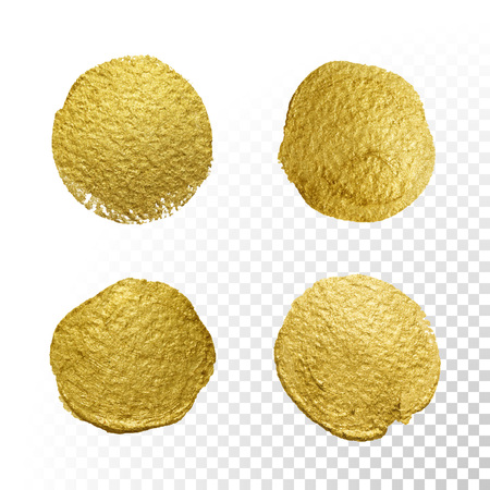 Vector gold paint circle smear stain texture set. Abstract gold glittering textured art illustration.