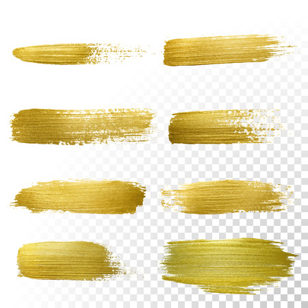 paint brushes: Vector gold paint smear stroke stain set. Abstract gold glittering textured art illustration. Abstract gold glittering textured art illustration.