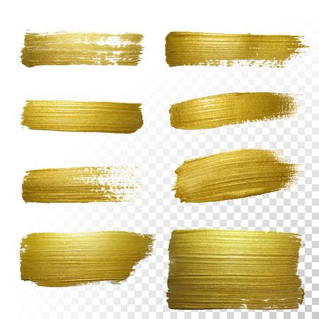 ベクトル ゴールド ペイント汚れストローク染色セット。抽象的な金きらびやかなテクスチャ アート イラストです。抽象的な金きらびやかなテクス