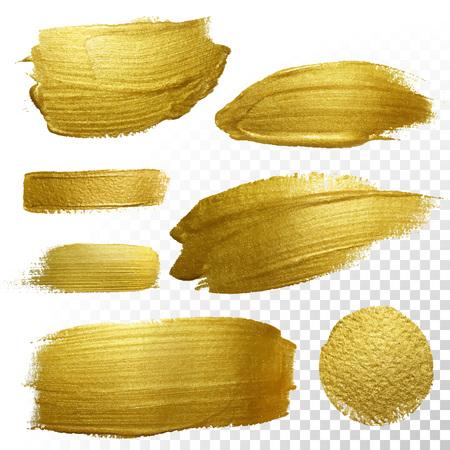 Set di vettore vernice d'oro ictus striscio macchia. Estratto oro scintillante strutturata illustrazione arte. Estratto oro scintillante strutturata illustrazione arte. Archivio Fotografico - 49176302