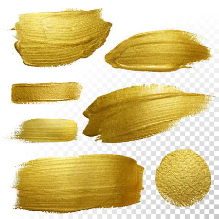 Vector gouden verf vlek slag vlek te stellen. Abstracte gouden glinsterende geweven kunst illustratie. Abstracte gouden glinsterende geweven kunst illustratie.