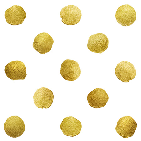 Vector gold glittering polka dot pattern on white background.
