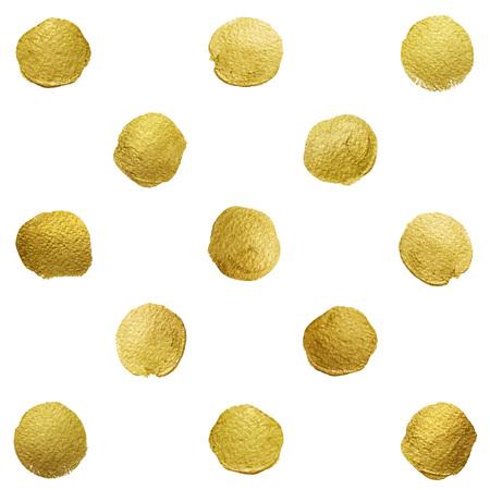 spots: Vector gold glittering polka dot pattern on white background.