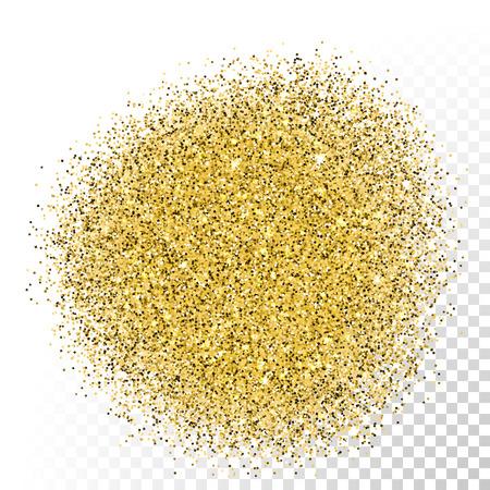 Vector gold glitter texture. Gold sparkles on transparent background