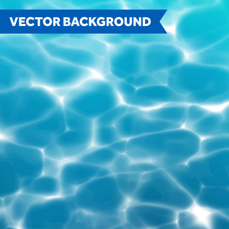 underwater: Vector water texture background with sunlight reflections