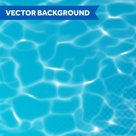 Vector water texture seamless transparent background with sunlight reflections. Illustration