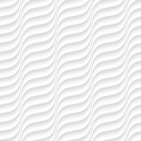 Blanc seamless texture. Fond ondulés. Intérieur décoration murale. 3D Vecteur de modèle de panneau de mur intérieur. Vecteur de fond blanc vagues abstraites.