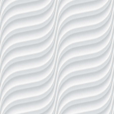 white abstract: White seamless texture. Wavy background. Interior wall decoration. 3D Vector interior wall panel pattern. Vector white background of abstract waves. Illustration