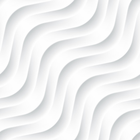interior decoration: White seamless texture. Wavy background. Interior wall decoration. 3D Vector interior wall panel pattern. Vector white background of abstract waves. Illustration