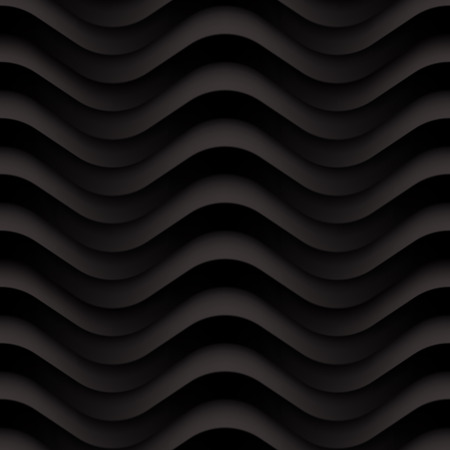 modern interior: Vector black wave texture. Seamless background. Dark black seamless texture for Interior wall decoration. 3D Vector interior wall panel pattern. Modern wavy black design wall. Illustration