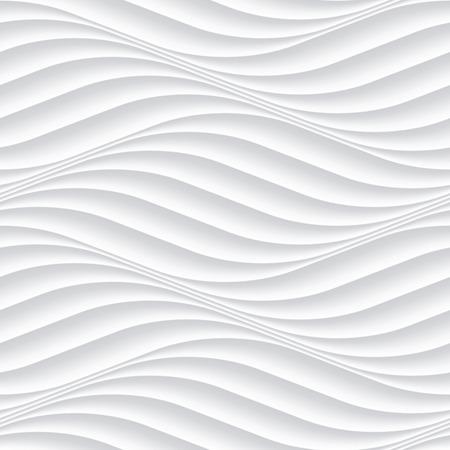 abstraktní: Bílý bezešvé textury. Vlnité pozadí. Interiér nástěnné dekorace. 3D Vector vnitřní stěny panelu vzor. Vektoru bílým pozadí abstraktní vlny. Ilustrace