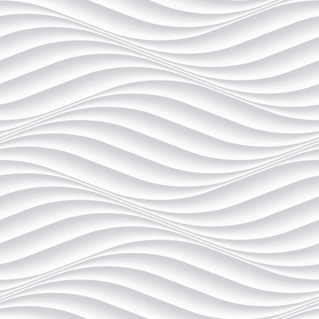 decoration: White seamless texture. Wavy background. Interior wall decoration. 3D Vector interior wall panel pattern. Vector white background of abstract waves. Illustration