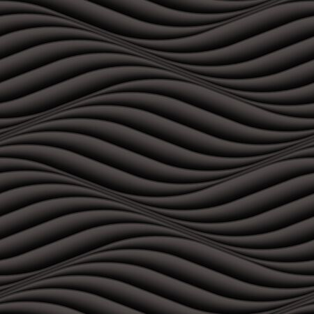 wall decor: Vector black wave texture. Seamless background. Dark black seamless texture for Interior wall decoration. 3D Vector interior wall panel pattern. Modern wavy black design wall. Illustration