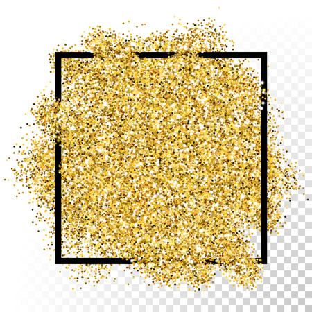 Vector gold glitter particles texture in frame on transparent background. Vettoriali