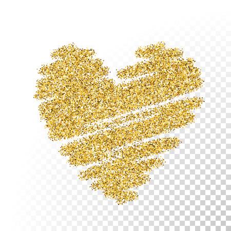corazon: Vector de oro brillo partículas textura. Rocíe forma de corazón sobre fondo transparente. Vectores