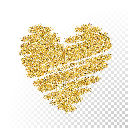 shiny hearts: Vector gold glitter particles texture. Spray heart shape on transparent background.
