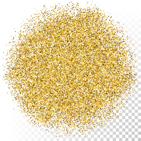 Vector gold scattered glitter particles texture on transparent background.