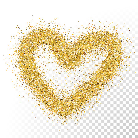 Vector gold glitter particles texture. Spray heart shape on transparent background.