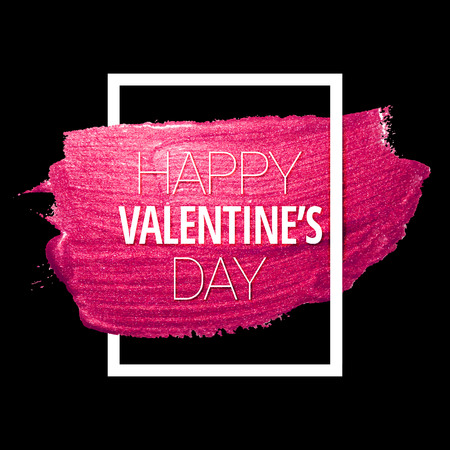 Vector pink glitter heart. Love concept card background for Valentines day