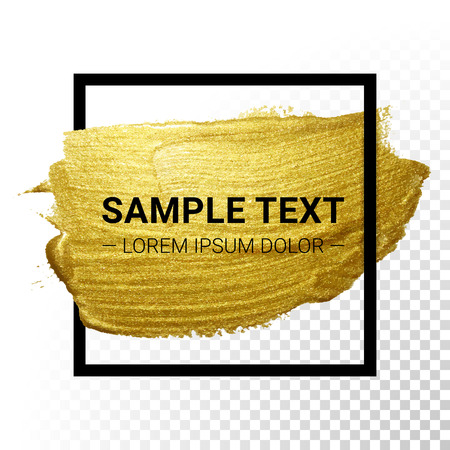 Vector gold paint stroke with border frame