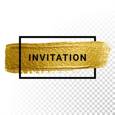 Vector gouden verf slag met grensframe Stock Illustratie