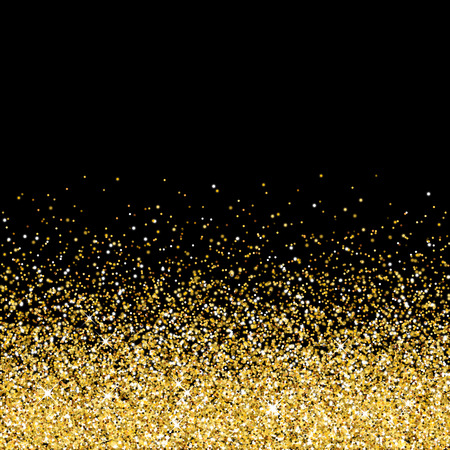 Vector gold glittering abstract particles on black background