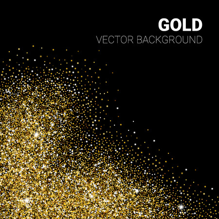golden shower: Vector gold glittering abstract particles on black background