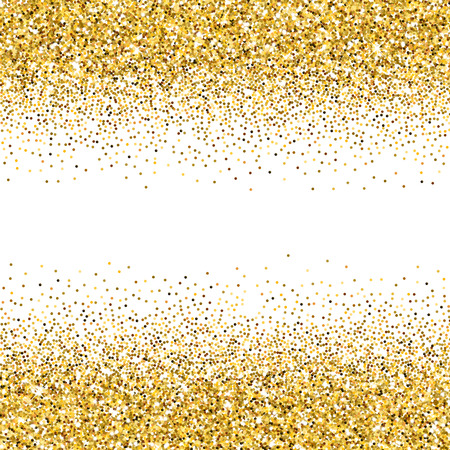 Vector gold glittering abstract particles on white background Stock Illustratie