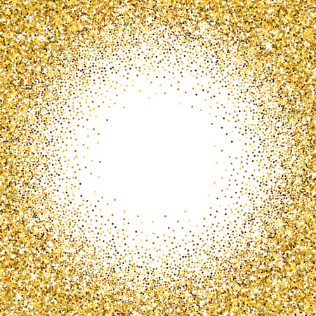 rain shower: Vector gold glittering abstract particles on white background Illustration