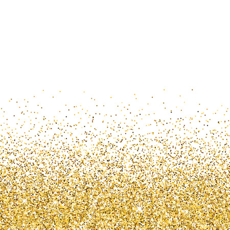 Vector gold glittering abstract particles on white background Çizim