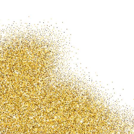 Vector de oro resplandeciente partículas abstractas sobre fondo blanco