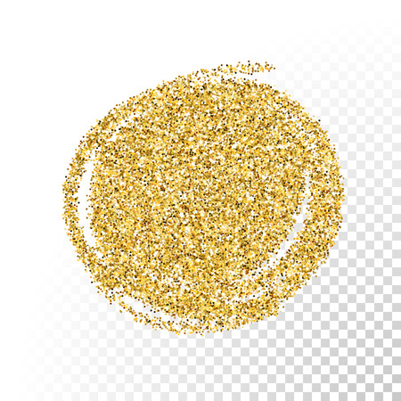 gold circle: Vector gold glitter particles texture. Spray circle shape on transparent background.