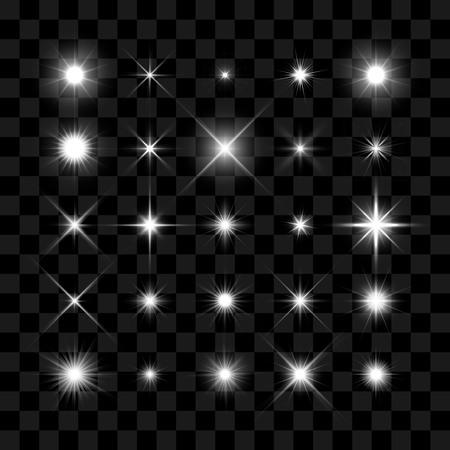 transparen: Starburst, las estrellas y las chispas estallan efecto de luz brillante en el fondo transparente. estrella transparente.